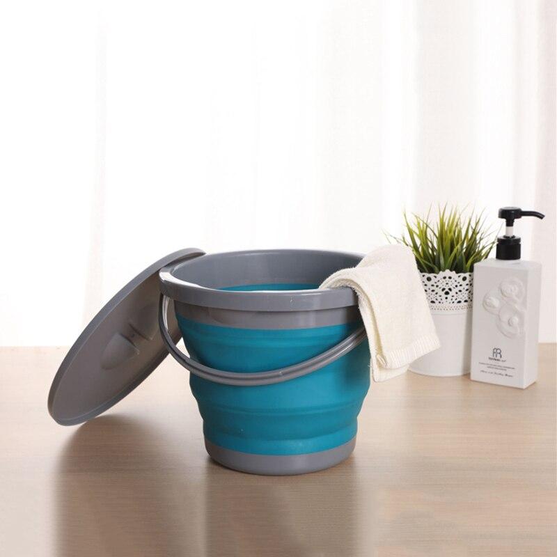 5L 접이식 두꺼운 실리콘 버킷 - 주방 욕실 수납 용 - 가정 용품