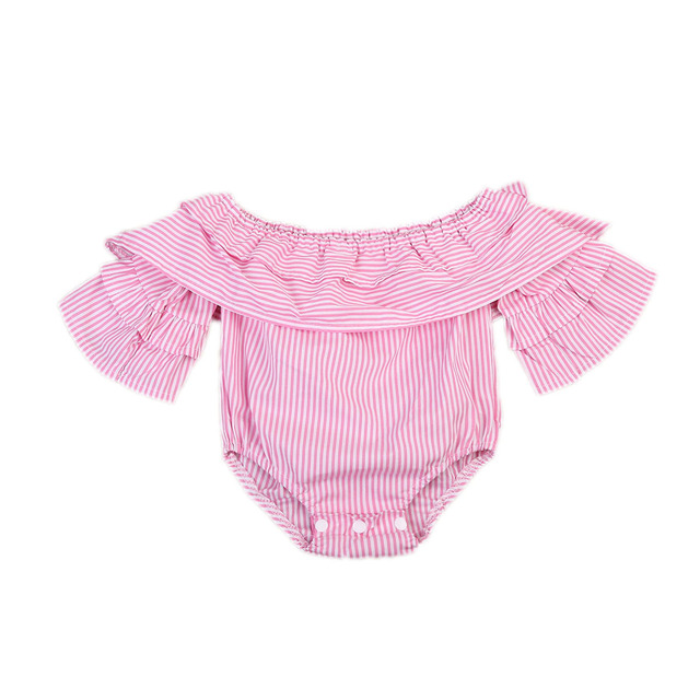 4f5faf890bf Newborn Infant Baby Girl Clothes Pink Striped Off Shoulder Romper Jumpsuit  Outfit Playsuit Clothes Baby Girls