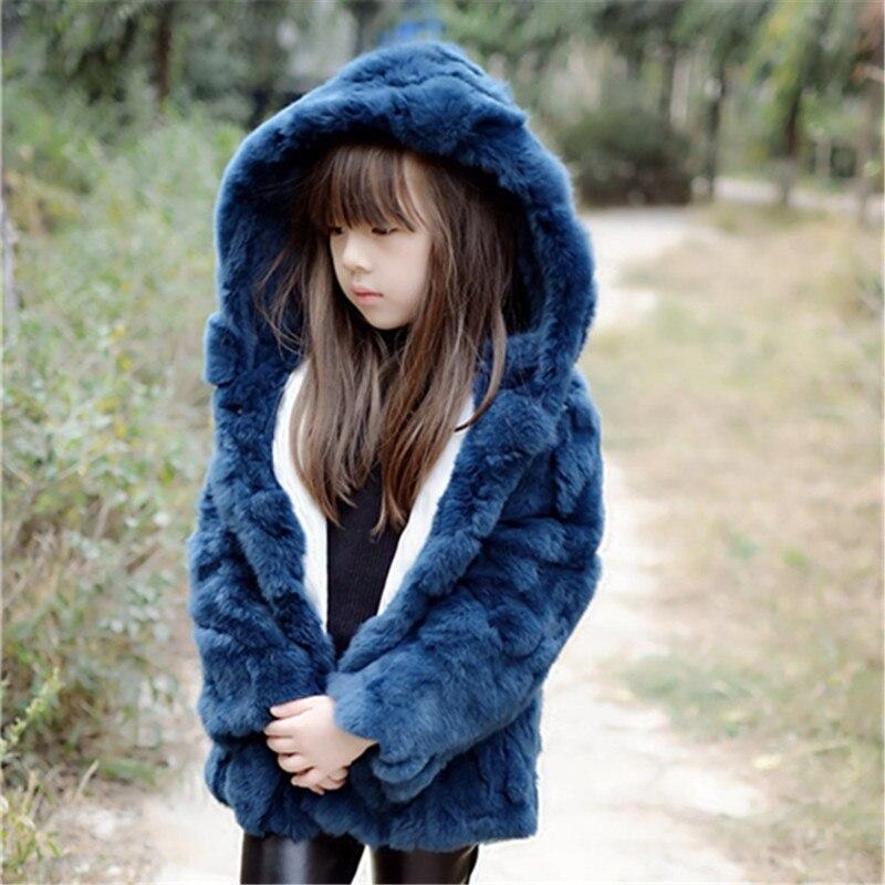 2016 новых детских отцовства Горячий Кролик шубе меховой трава с капюшоном пальто Корейские девушки с капюшоном плюс хлопок моды