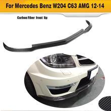 carbon fiber car bumper spoiler front lip spoiler for benz W204 C63 AMG bumper 2012 2013 2014