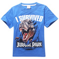 New Jurassic World Boys T Shirt Kid Short Sleeve Jurassic Park T-shirt Children Summer Clothing Dinosaur Tees 4-14 Years Blue