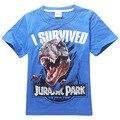 Nuevo Jurassic World Jurassic Park Muchachos Camiseta Chico Manga Corta Camiseta Ropa de Verano Para Niños Dinosaurio Camisetas 4-14 años Azul