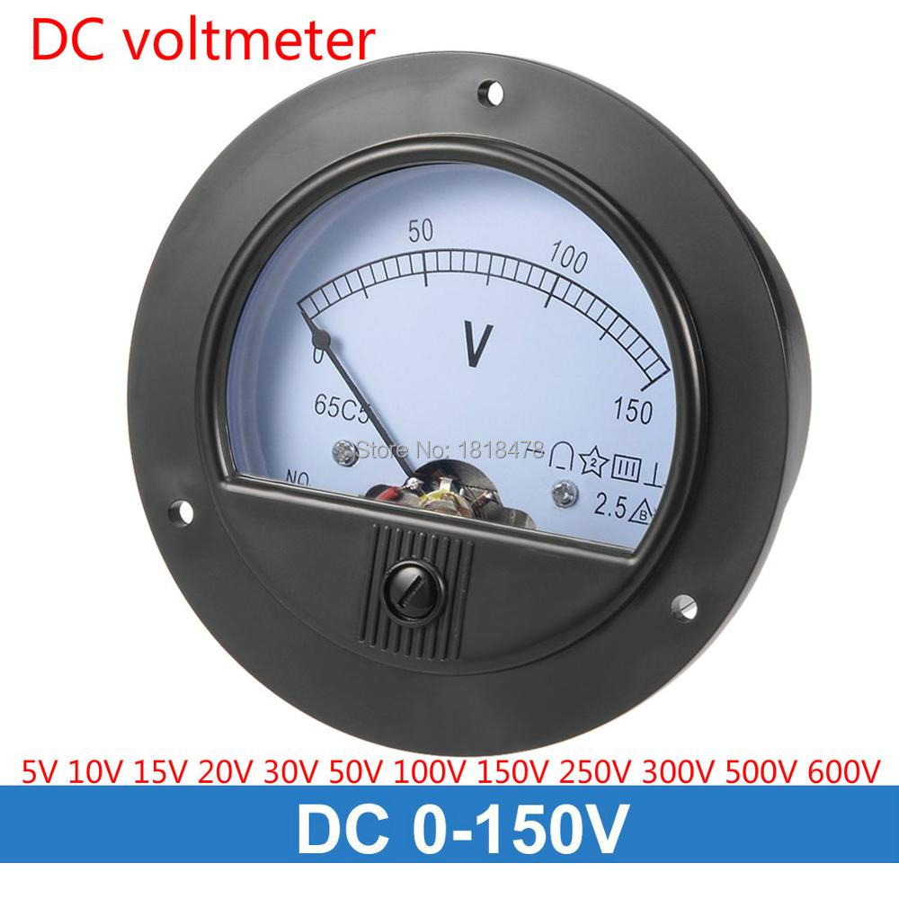 DC Voltmeter 65C5 5V 10V 15V 20V 30V 50V 100V DC 0-150V 250V 300V Analog Panel Voltage Gauge Volt Meter 65C5 2.5% Error Margin