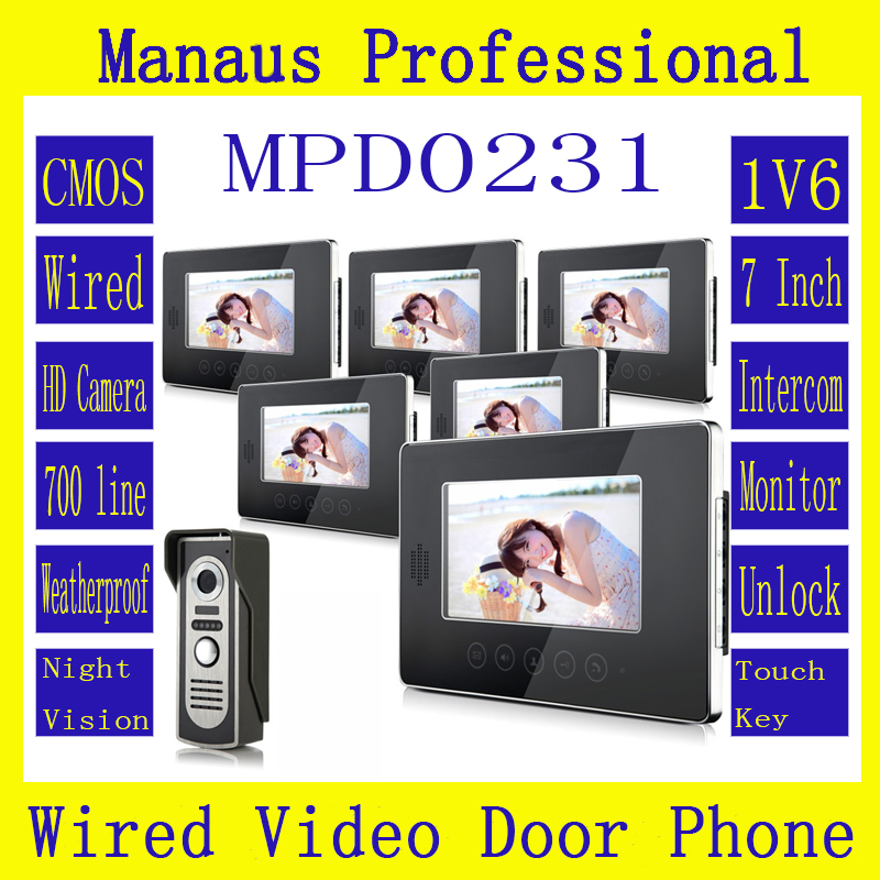 Hot Sale Touch Key SmartHome Black 7 Inch TFT LCD Screen Video Intercom Phone,One to Six Video Doorphone Kit Configuration D231a 7 inch video doorbell tft lcd hd screen wired video doorphone for villa one monitor with one metal outdoor unit night vision