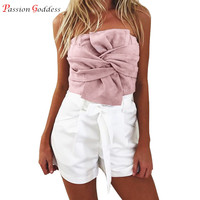 New Fashion Sexy Women Sleeveless Suede Leather Tank Tops Strapless Big Bow Back Zipper Short Crop
