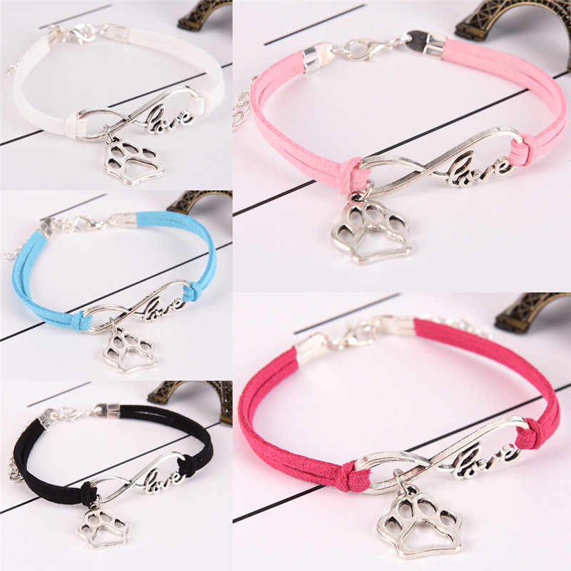 Fashion Charm Pet Dog Lover Cat Animal Bear Paw Bracelet Infinity Bracele Hot Sale