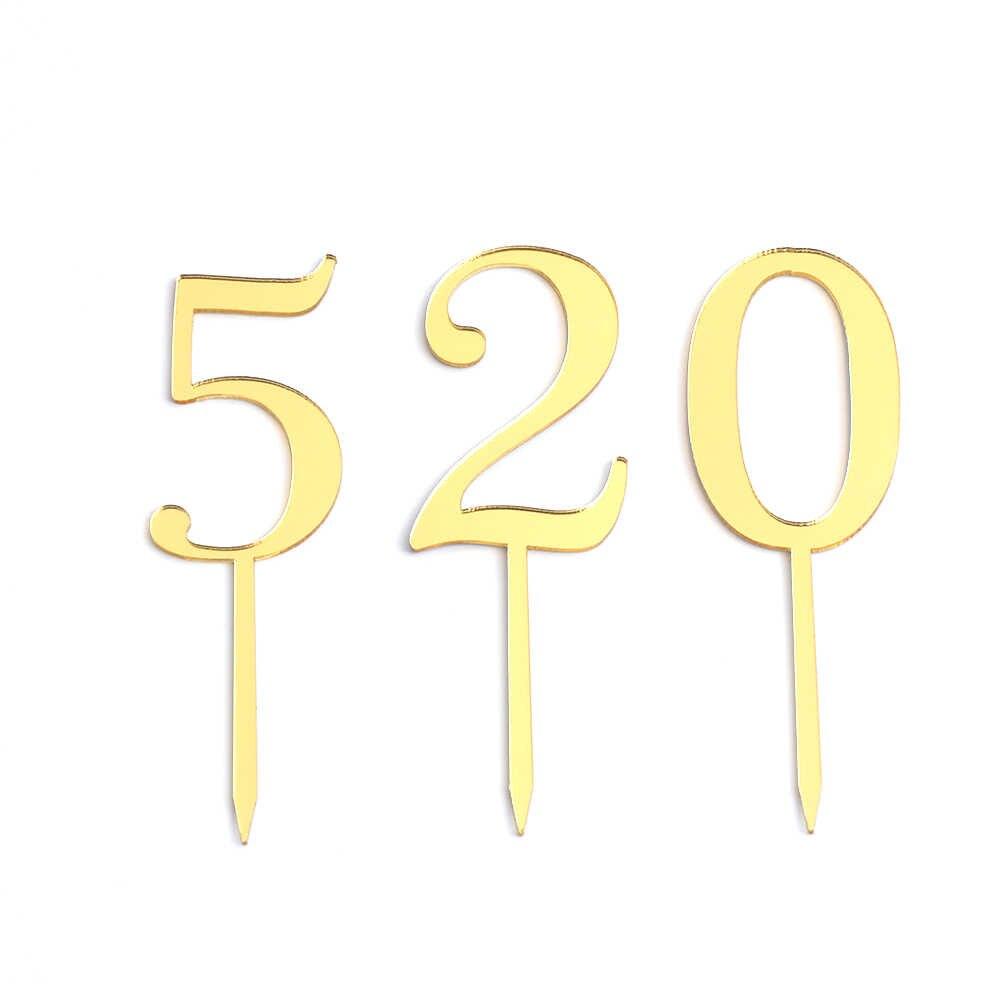 1PC จำนวน 0 1 2 3 4 5 6 7 8 9 วันเกิดเค้ก Topper คริลิคเด็กโกลเด้นเด็กวันเกิดวันครบรอบปาร์ตี้ตกแต่ง