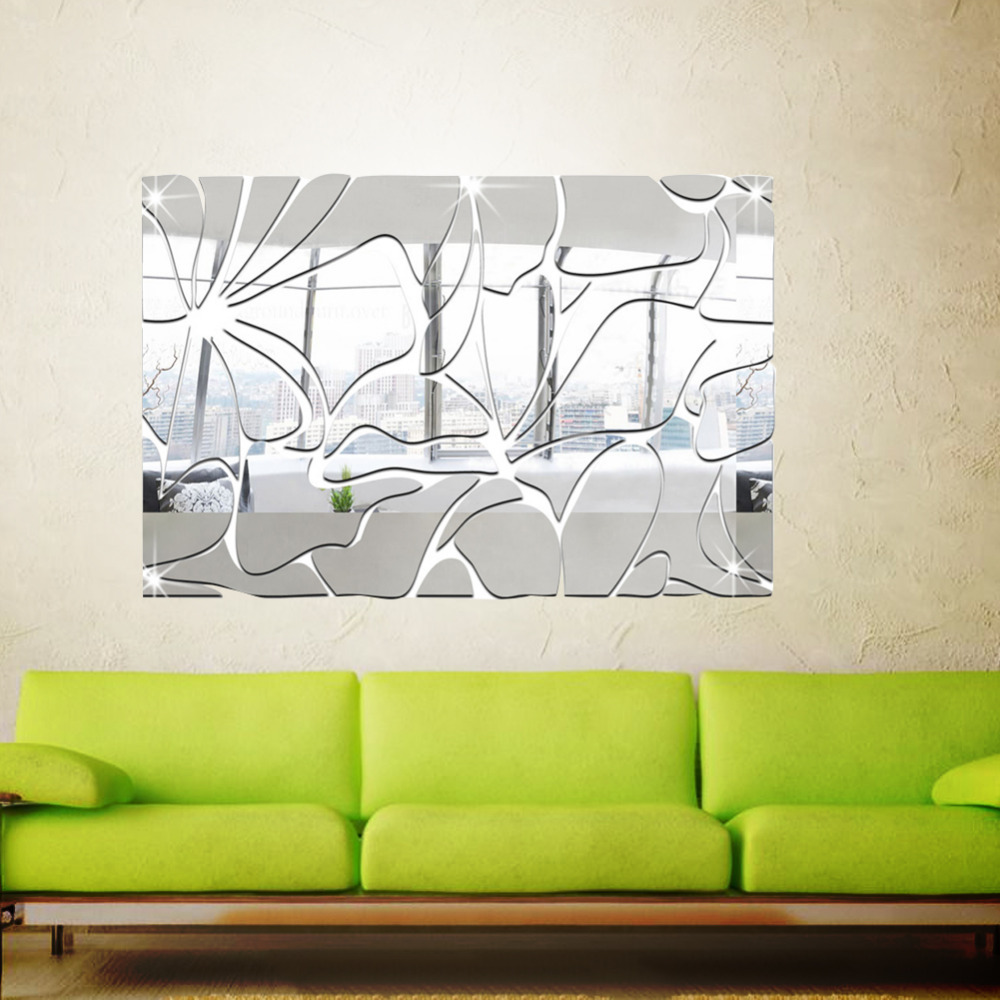 DIY Square Pattern Mirror Wall Sticker 3D Acrylic Stickers ...