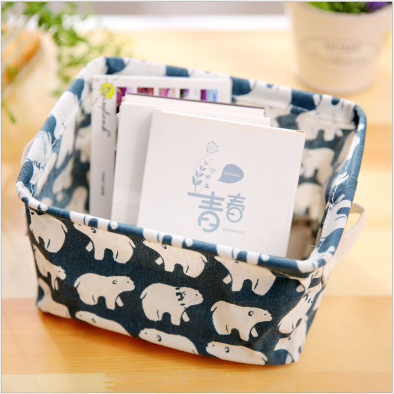 2pcs lot Cartoon Linen Desk Storage Box Holder Home Cotton Organizer Jewelry Cosmetic Stationery Sundries Cute Animal Tree Decor in Storage Boxes Bins from Home Garden