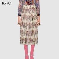 Runway Vintage Floral Printed Long Skirt Women 2018 Luxury Beading Diamond Summer Female Midi Skirt High Waist Clothing Tunic