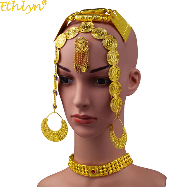 Ethlyn 2019 Latest Gold Color Red Stone Women Eritrean Ethiopian Traditional Wedding Jewelry Sets S112C