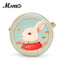 Alice in Wonderland Mr. Bunny Round Shoulder Bag Cute Dream Bunny Purse Vintage Animal Printed Design Fashion Lolita Style Bag