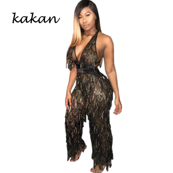 Kakan 2019 spring new womens sexy sequins one-piece tights sexyF nightclub party leotard beads fringed blac jumpsit
