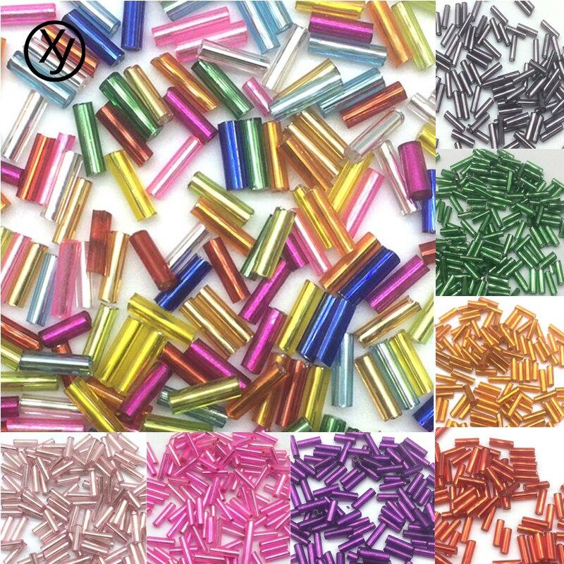 DIY 2x6mm 400 pcs Glass Tube Bugle Beads Jewelry Making color Beads wholesale#12