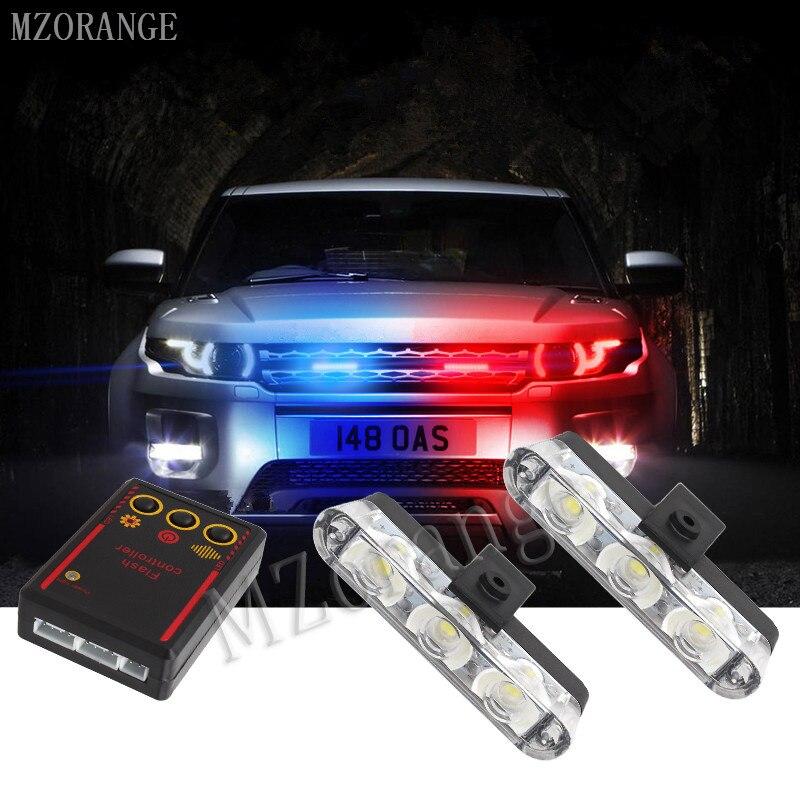 MZORANGE 2x3/Led Krankenwagen Polizei licht DC 12 v Auto Licht Blinkt Feuerwehr Lichter Strobe Warn licht auto-Styling Beste Qualität