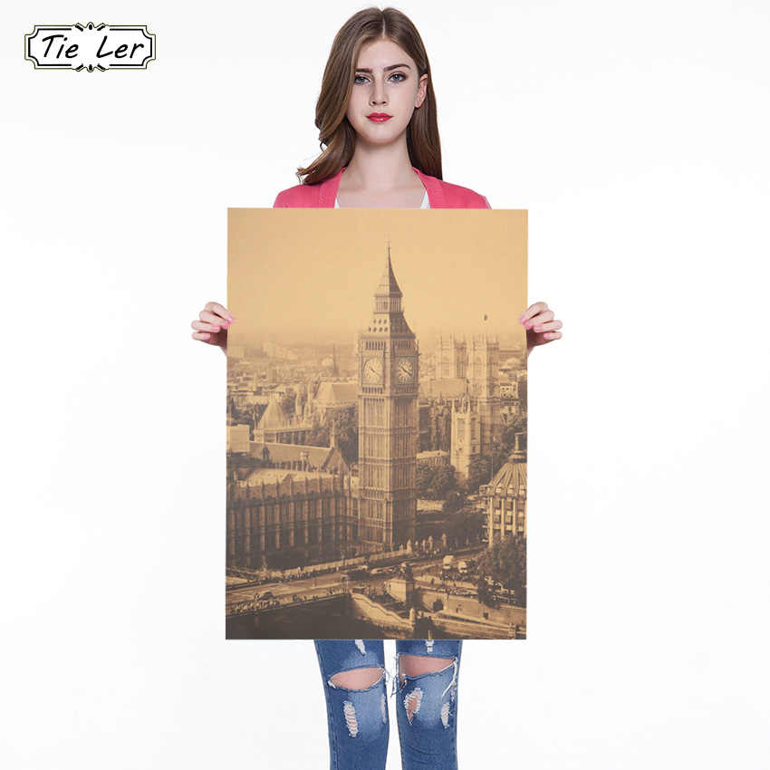 London Classic Big Ben Photography Kraft Paper Poster Indoor Decoration Wall Sticker Painting Wallpaper 36 X 51.5cm