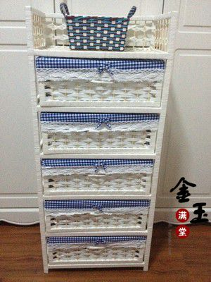 Straw braid rattan storage cabinet brief bedsprings storage cabinet baby wardrobe drawer five drawer cabinet rustic