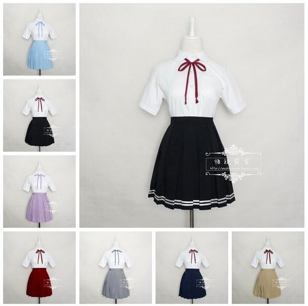 Japan Kawaii O-neck Collar England Style Cosplay Costume School Summer Sailor Uniform Dress Outfit New Free Shipping S-XXXL