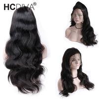Бесклеевого парики бразильского объемной волны Full Lace человеческих волос парики черный для Для женщин Синтетические волосы на кружеве пари