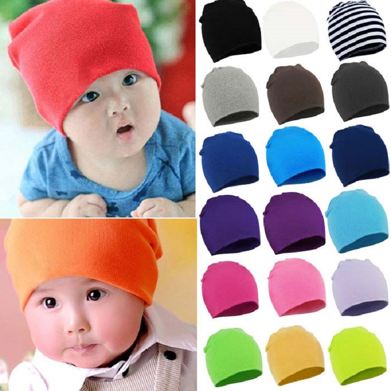 Autumn Winter Solid Cotton Baby Hats Girl Boy beanies Toddler  Kids Caps Lovely Knit Crochet Bonnet Bone 20 Colors allkpoper autumn winter baby girl boy beanie hats toddler casual solid cotton caps