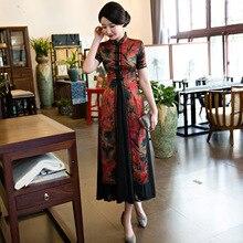 New Arrival Print Flower Vietnam Aodai Vintage Chinese Women Dress Sexy Satin Cheongsam Lady Plus Size 3XL 4XL Long Qipao