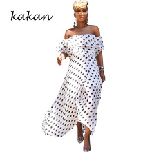 Kakan bohemian chiffon long dress summer new fashion dot digital print tube top irregular womens