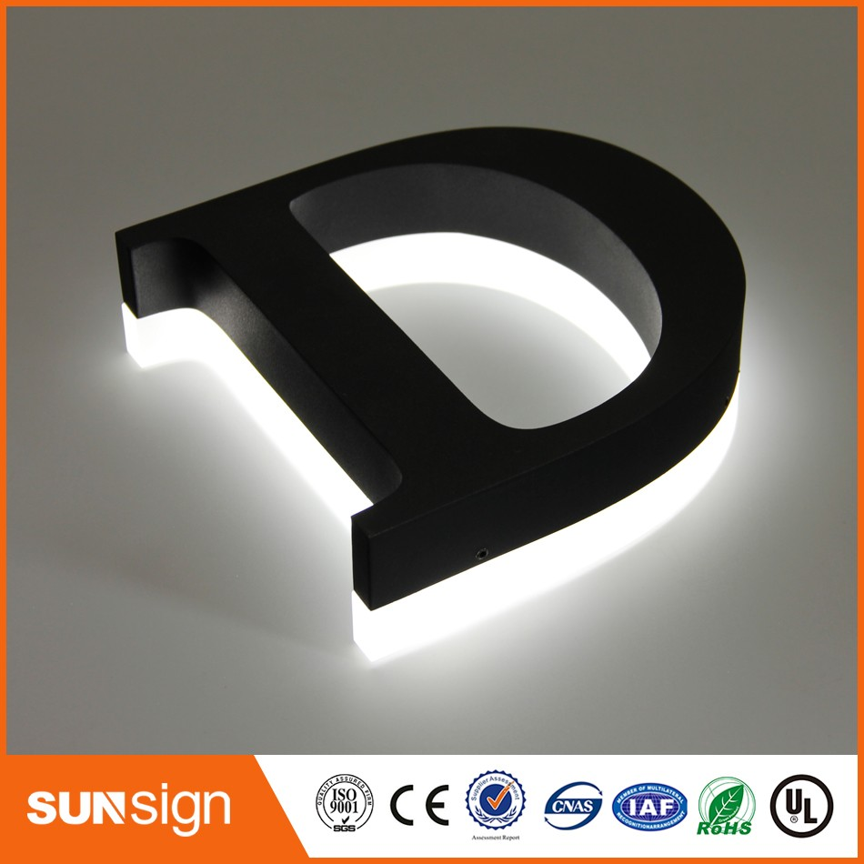 Metal Letter Signs With Lights Outdoor Advertising Backlit 3D Metal Sign Letters Customized