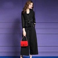 Высококачественная роскошная женская одежда модный однотонный длинный рукав ремень топ широкие брюки комплект из двух предметов деловой п