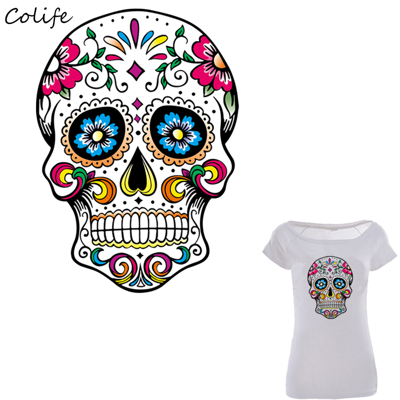 Us 1 59 20 Off Mexican Sugar Skull Patches Print On T Shirt Clothes Decoration Diy Accessory Washable New Design Patches For Clothing 26x19cm In