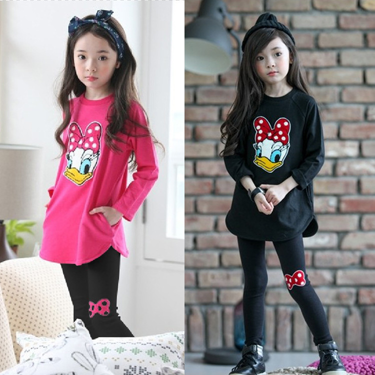 2018 New spring Girls clothes Sets Cartoon Donald Duck Lovely print Children Tracksuit kids clothing suit baby t shirt+pant 2pcs цена