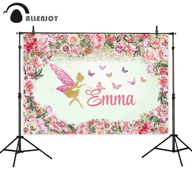 Allenjoy photography backdrops wreath flower floral fairy for children baby girl birthday customize photocall background