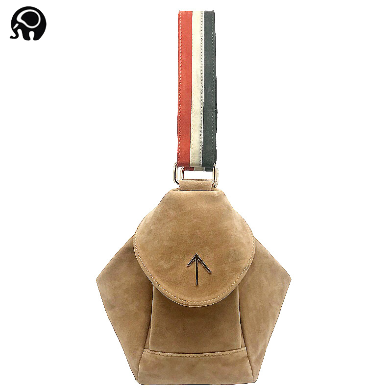 2017 INS Vintage Arrow Scrub bag Women handbag Small Cover Flap Bag Shoulder Bags Lady Messenger bags Atelier Turkey Color strap