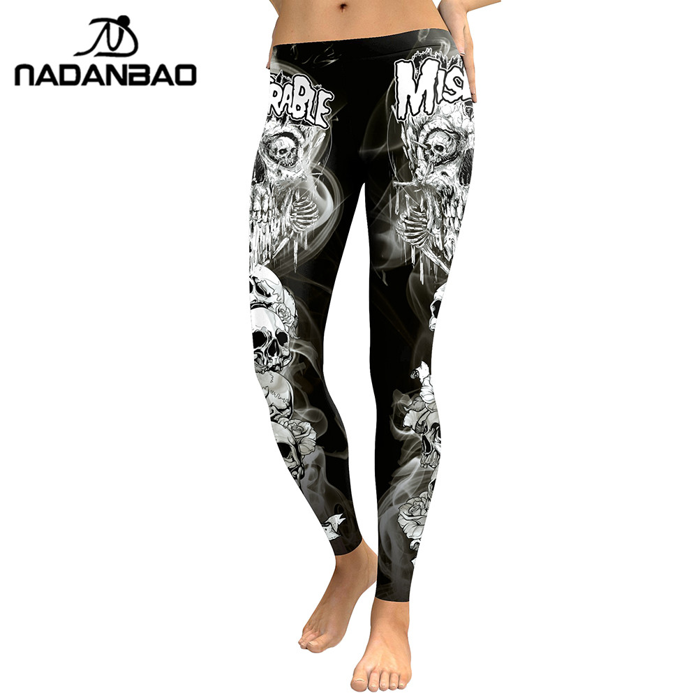 Image 4 - NADANBAO 2019 New Arrival Skull Head Women Leggings Letter Gradient Digital Print Pants Slim Fitness Workout Woman Leggins-in Leggings from Women's Clothing