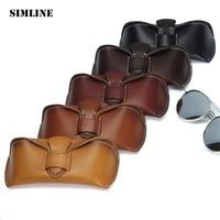 SIMLINE Vintage Casual Handmade Genuine Vegetable Tanned Leather Cowhide Men Women Sun Glasses Case Cases Box