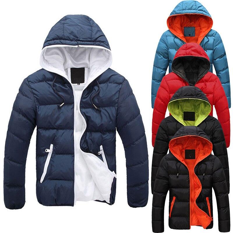 2017, Новая мода Для мужчин; зимняя теплая куртка с капюшоном тонкий Повседневное пальто куртка на подкладке из хлопка куртка пальто с капюшоном плотное пальто