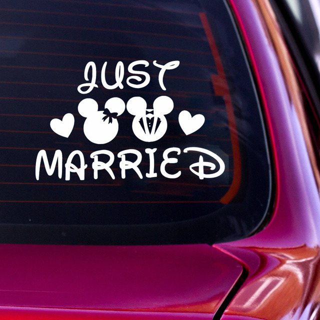1489d1d1741 Just Married Decal Wedding Car Decoration Vinyl Wall Stickers Wedding Decals  Mickey Minnie Mouse Married Car Sticker Lovely G32