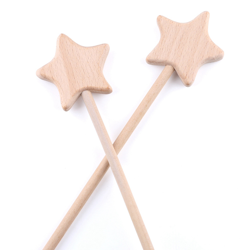 2PC Beech Wooden Star Toy Custom Logo Diy Baby Magic Wands Toys Five-pointed Star Rod Waldorf Rodent Toy Play Gym Moon Heart For Girl Kids Product Toys