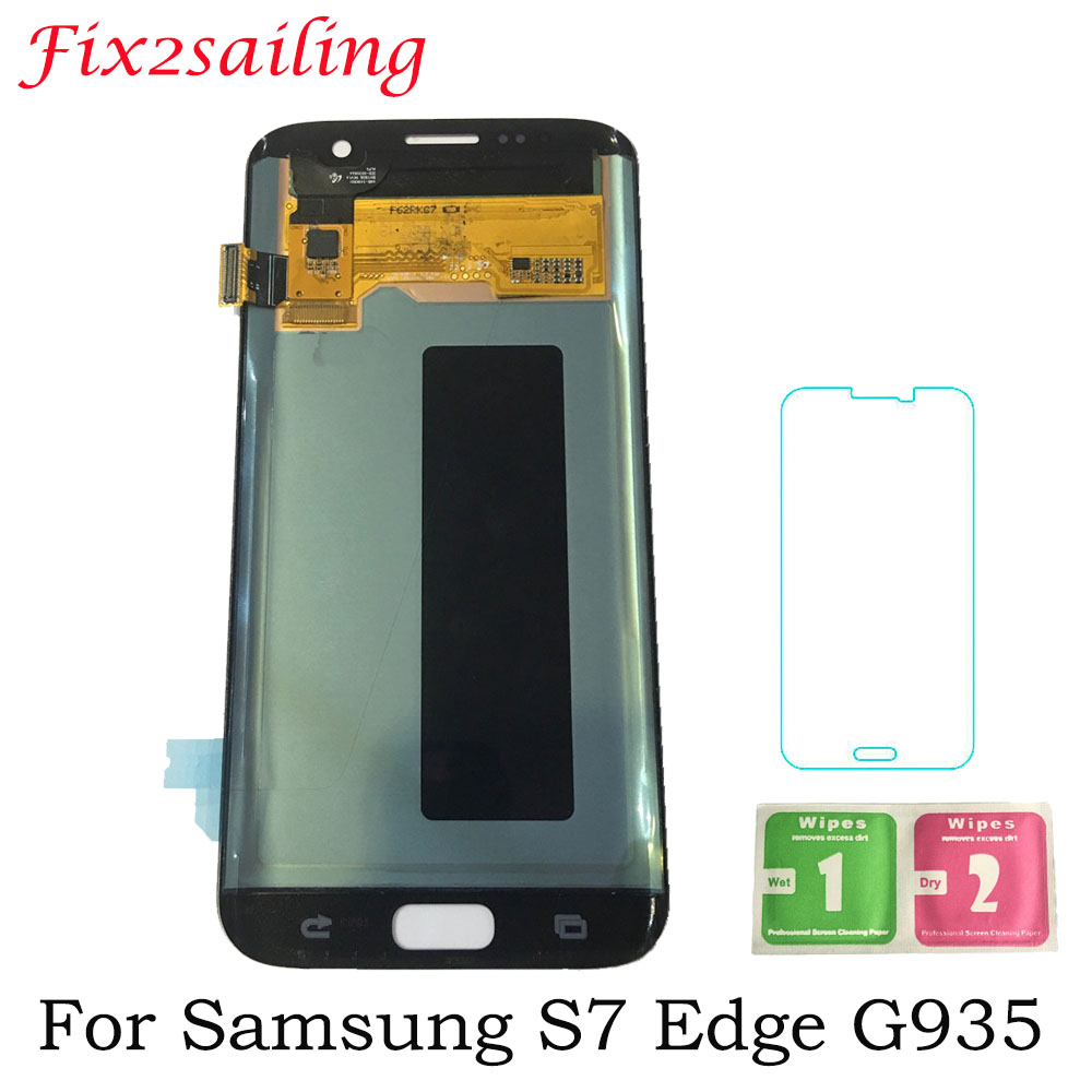 5.5 ''Super AMOLED LCD Écran pour SAMSUNG Galaxy S7 bord Affichage G935 SM-G935F LCD Affichage à L'écran Tactile Digitizer Assemblée
