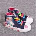 Nueva moda niños kids canvas shoes girls algodón zapatilla de deporte infantil botas de cremallera arco bebé de tenis para niños entrenador deporte falt zapato