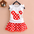 Fashion 1-4Y Summer Baby Girl Princess Clothes Cartoon Cute Party Girl's Mini Dress ball gown lace+cotton material Shirt + skirt
