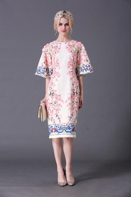 XXXXL Women Plus Size Dress 2017 Spring Women Appliques Floral Print Flare  Sleeve Elegants Party Boutique Shop Designer Dresses 077c4b71d2af