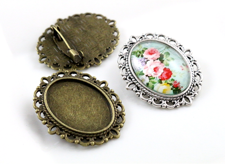 Cameo Cabochon Brooch-Pin Base-Setting-Tray Bronze Antique Silver 18x25mm Classic-Style