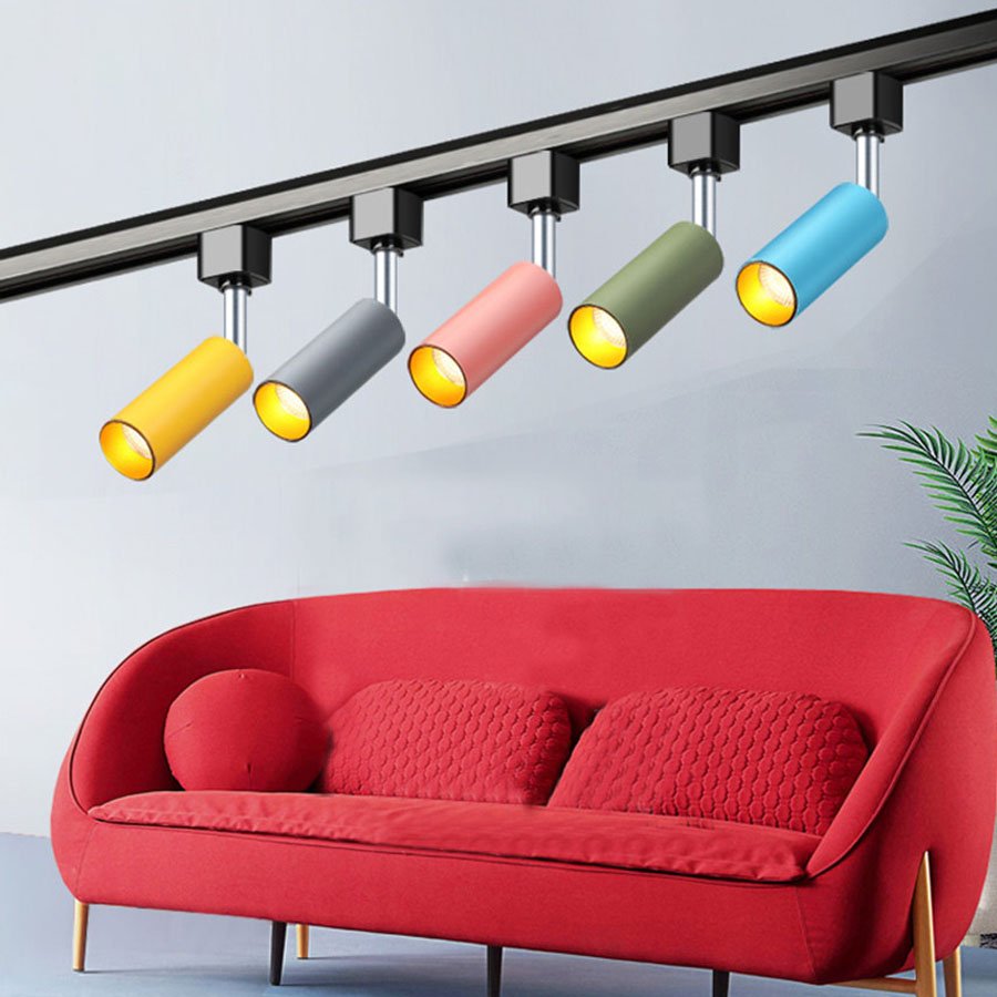 Dedicated Thrisdar Nordic Led Track Light Macaron Background Coffee Shop Clothing Store Railway Track Spotlight Clearance Price