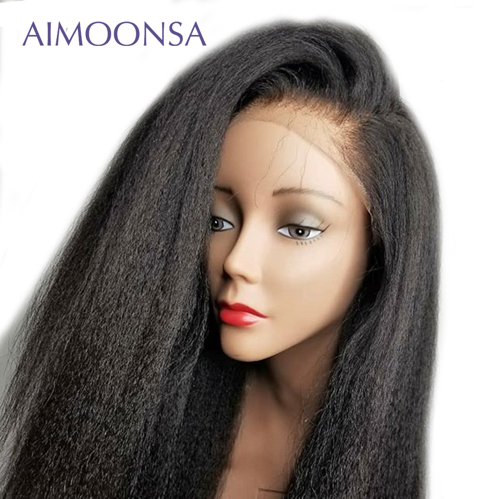Ponytail Undetectable Lace Wig 360 Lace Front Wig Kinky Straight Hair 150 Density Invisible Knots Raw Indian Hair Remy Aimoonsa