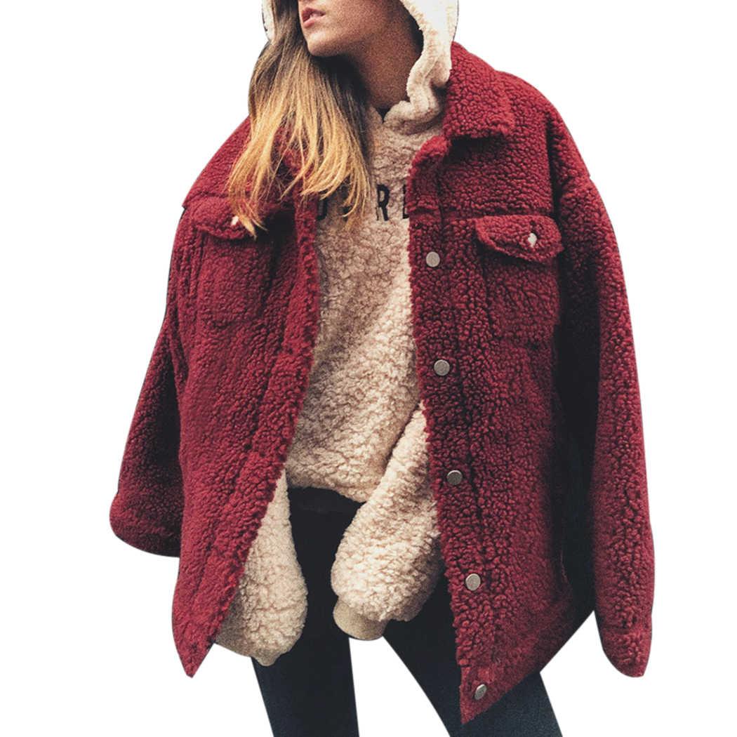 926a4131099 ... Women Faux Fur Teddy Coat Spring Autumn Fluffy Warm Jackets Outwear  Fashion Button Pocket Hairy Coats ...