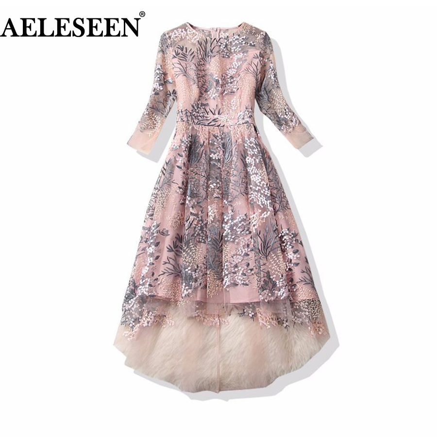 2018 European Style New Dresses 3/4 Sleeves Elegant Fashion Pink/Black Vintage Flowers Embroidery Dovetail Irregular Dresses