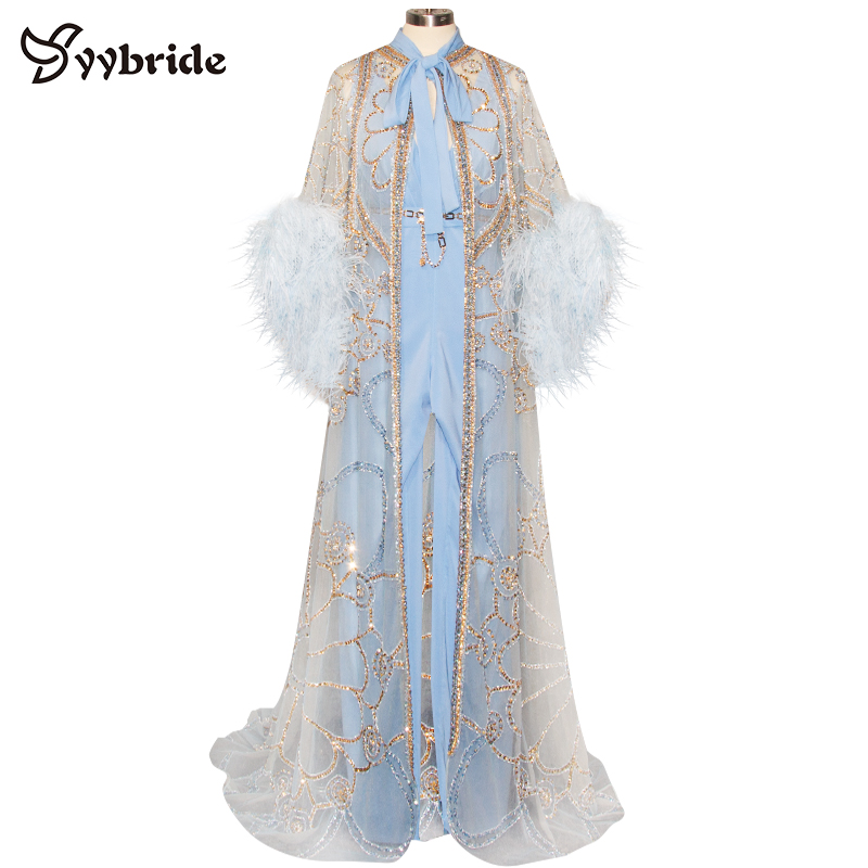 Amicable Yybride New Design Two Pieces Muslim Dresses V-neck Jumpsuits With Long Crystals Cape Gold Beading Feathers Sleeves Prom Dresses Available In Various Designs And Specifications For Your Selection Weddings & Events