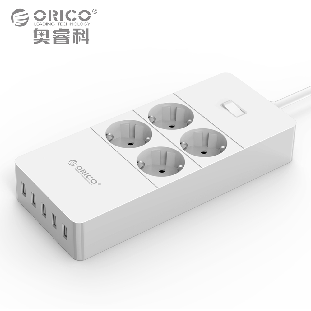 ORICO EU Plug USB Power Socket Surge Protection 4 6 8 AC Outlet 5 USB Smart Charging Port-1.5M Power Cord White