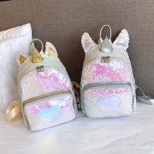 Gold Silver Sequins Unicorn Backpack Fashion Glitter School Book Bag Girls Cute