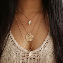 Three Layers Shell Women Pendant Necklace Natural Seashell Bohemian Ladies Jewelry